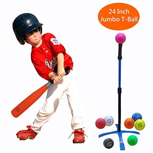 Macro Giant Jumbo T-Ball Set da 24 Pollici, 1 Mazza da Baseball Arancione Jumbo Foam, 8 Mazze da Baseball in Schiuma, Colori Assortiti, Pratica di All