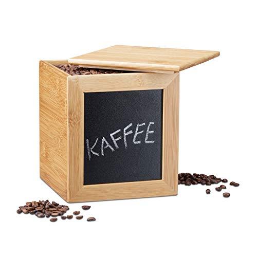 Relaxdays opbergdoos met bord, smalle houten box, bamboe, met deksel, voor keuken, h x b x d: 17 x 15,5 cm, naturel