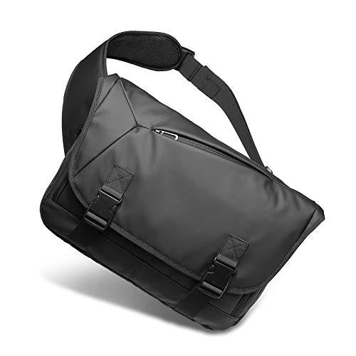 メッセンジャーバッグ メンズ 斜めがけ ボディバッグ 肩掛けバック ショルダーバッグ 防水 大容量 PC収納カバン かばん男性用 (ブラック)