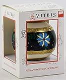 Vitbis 0505202A0046 Bola de Navidad de Vidrio, Blanco Decorado, 100 mm (3,93 ')