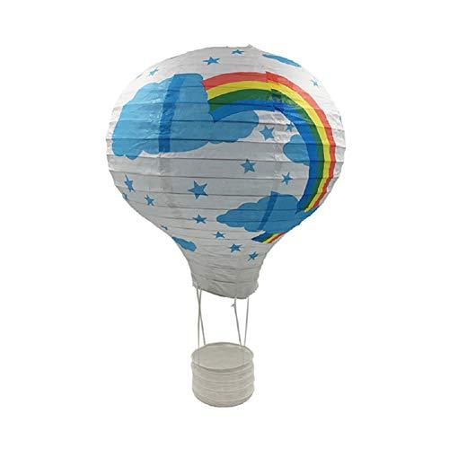 Outflower HeißLuftballon Deko Kinderzimmer Laterne Weiß Papier Kronleuchter Kinderzimmer Junge Dekorativer Ballon DIY Laterne (weißer Regenbogen)