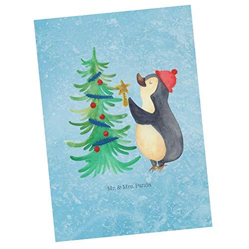 Mr. & Mrs. Panda Karte, Ansichtskarte, Postkarte Pinguin Weihnachtsbaum - Farbe Eisblau