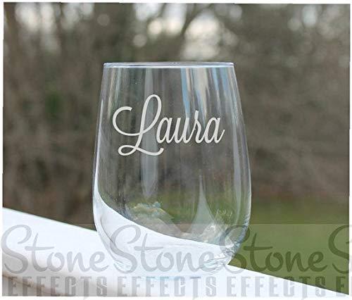 Gepersonaliseerd geëtst steelloos wijnglas met u naam of woord