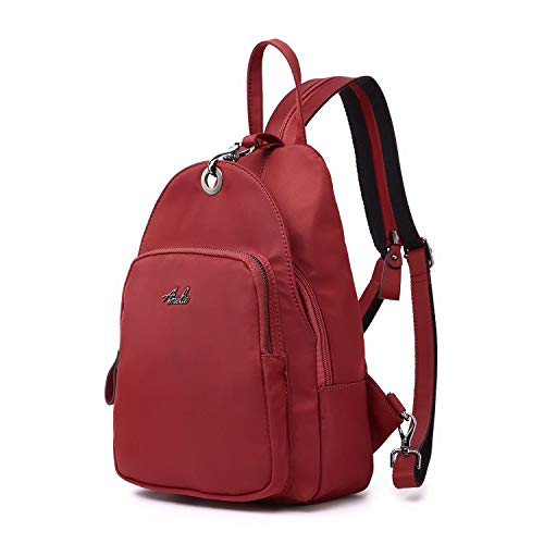 Small Backpack Purse for Women, Backpack Handbags Lightweight PU Nylon Sling Purse with Convertible Shoulder Strap (Bean Red-Nylon)