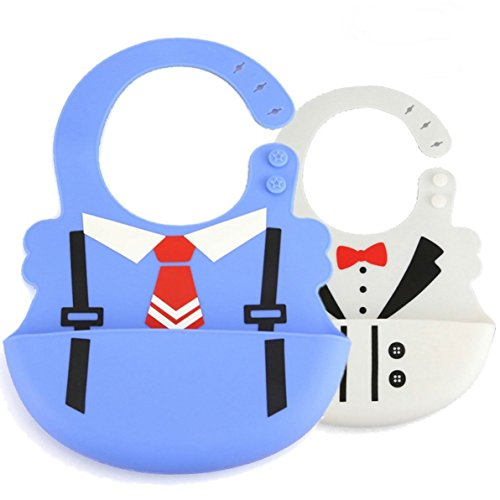 Soft Silicone Baby Bib With Pocket,Best Waterproof Toddler Bib-For Girls & Boys-Easily Wipes Clean-Comfortable Soft Baby Bibs-Keep Stains Off-Spend Less Time Cleaning after Meals-2 Pack-A0021