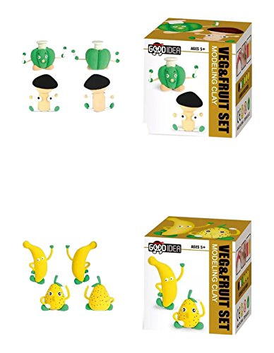 Little Treasures Fruits & Vegetables Air-Dry Clay Set of 2 Individual Sets Included with Detailed Step-by-Step Instructions