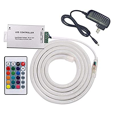 XUNATA Remote Control RGB LED Neon Rope Light, Color Changing 12V 5050 Flex LED Neon Tube Lights with 24Key Remote and Power Adapter, Waterproof, Ideal for Christmas Indoor Outdoor