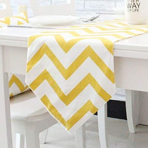 Pingrog Chevron Zig Zag Mischgewebe Baumwolle Leinen Canvas Weiß Gedruckt Unikat Tischläufer (Gelb Schwarz Orange Navy Blau Aqua Grau) Aqua 30X210Cm (Color : Gelb, Size : 30X220Cm)