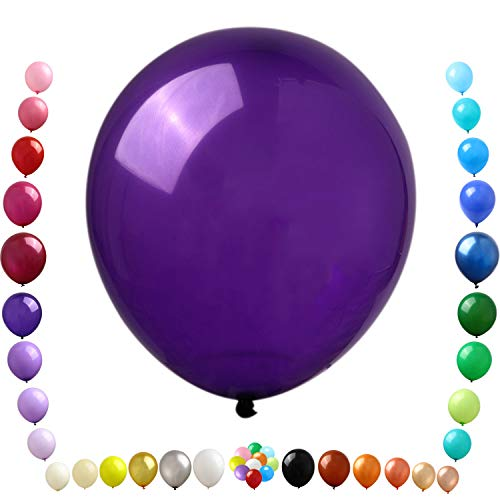 Party Ulyja Deep Dark Purple Balloons Kids' Party 50 Pieces Bulk 12 Inch Shiny Latex Balloons Helium Quality for Birthday Wedding Halloween Unicorn Mermaid Gras Themed Arch's DIY Decorations Supplies