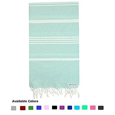 100% Natural Turkish Cotton Peshtemal Towels Pestemal Towel Thin Travel Camping Bath Sauna Beach Gym Pool Blanket Fouta Towels Absorbent Easy Care Mint