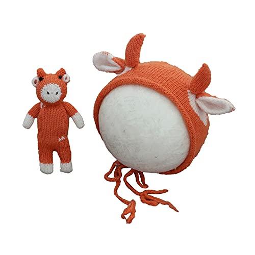Fotografía de Bebé Crochet Gorro de Punto Animal Lindo Suave Pantorrilla Juguete Infantil Foto Apoyos para Niños de 0-1 Mes Niñas Bebé Recién Nacido