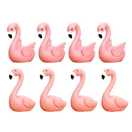 Cabilock 16Pcs Mini Flamingo Ornamente Kuchen Figur Miniatur Fee Garten Statuen Home Tischdekoration für Tropische Luau Hawaii Party Dekoration Begünstigt Geschenke