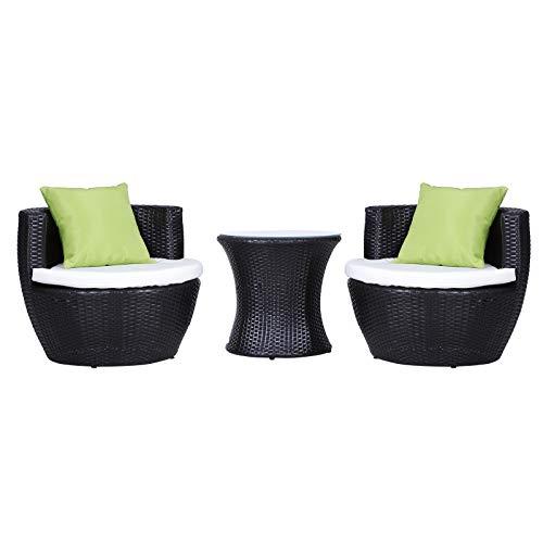 sedie da giardino zincate Outsunny Set Mobili in Rattan Set 2 Poltrone