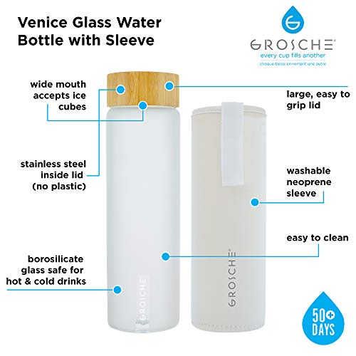 GROSCHE Venice Glass Water Bottle 670 ml, 22.6 fl. oz with White frosted finish, bamboo lid, Borosilicate Glass and neoprene sleeve. Heatproof reusable borosilicate glass water bottle.
