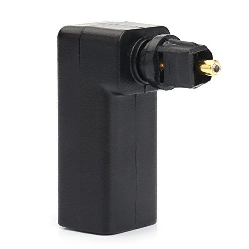Maxhood, Adattatore ottico ad angolo retto digitale (Toslink) ruotabile di 360 gradi, cavo adattatore convertitore audio ottico digitale 1Pack Gold