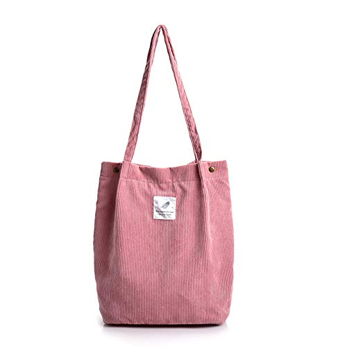 ACYOUNG Large corduroy bag, women's handbag, chic shoulder bag for everyday use, office, school trip, shopping. Size: UK One Size