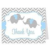 Elephant Twins Thank You Cards Chevron Stripes Baby Shower Sprinkle Little Peanut Boy Blue Gray Grey Chevron Elephant Twin (24 Count)