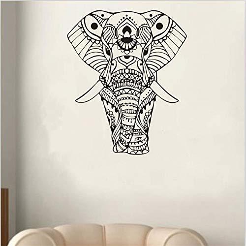 3D animal negro elefante mandala patrón tallado a mano etiqueta de la pared dormitorio TV sofá cartel de la pared de vinilo etiqueta de la pared