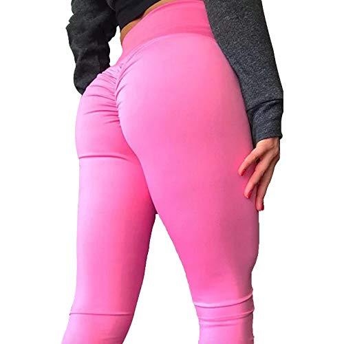 Leggings Casuales De MujerFitness Mujer Leggings Casual Sólido Cintura Alta Elástica Push Up Leggings Poliéster hasta El