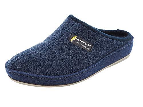 Schawos Filz Hausschuh für Herren, Qualitäts-Pantoffel, Made in Germany, mit anatomisch geformtem Fußbett und aktiver Fersendämpfung, Modell: Pantoffel ungefüttert (Marine (24D), 45 EU, Numeric_45)