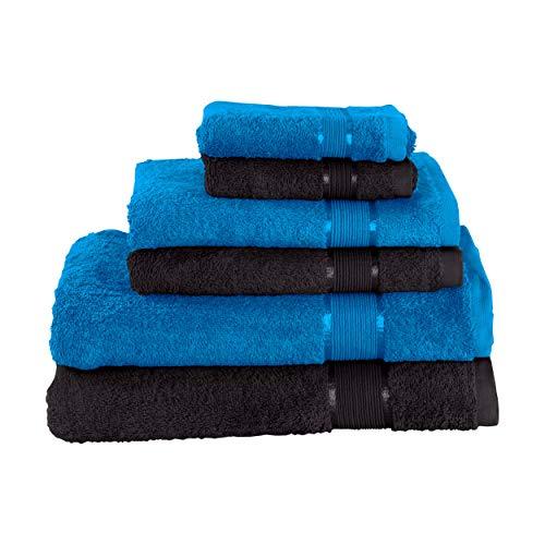 Mixibaby Juego de toallas de mano (2 toallas de baño, 2 toallas de ducha, 2 toallas de mano, 2 toallas de mano azul con combinación de colores, color: negro)