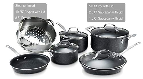 GRANITESTONE 10 Piece Nonstick Cookware Set, Scratch-Resistant, Granite-Coated, Dishwasher and Oven-Safe Kitchenware, PFOA-Free Pots and Pans As Seen On TV