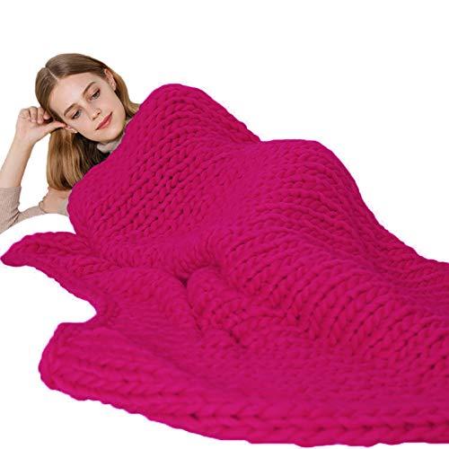 WCX Manta De Punto Gigante Suave Y Gruesa Hecha A Mano Acogedora Manta para Sofá Esterilla De Yoga, Decoración del Hogar (Color : Rose Red, Size : 100x100cm)