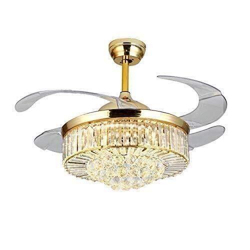 Candelabro Lámpara de ventilador de techo de cristal de 42 pulgadas, hoja telescópica invisible remota, lámpara de araña de viento ajustable, lámpara de araña de ventilador LED de diseño extensible (4