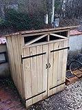Juego de cubos de madera de roble macizo de 3 cm de grosor y acabado bruto: 135 x 135 x 183 cm (altura máxima), 2 puertas de roble