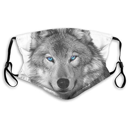 iqingzhongbai Wiederverwendbar Blue-Eyed Wolf Drucken HalbgesichtssicherheitWaschbar mit austauschbarem Filter