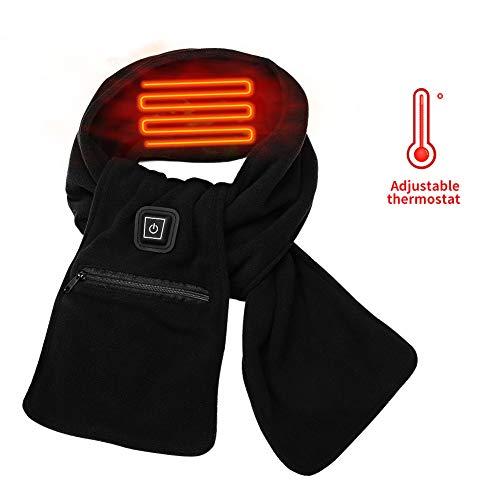 Qdreclod USB Beheizter Schal mit 3 Stufen Einstellbarer Temperatur, Unisex Soft Polar Fleece und Baumwolle Elektrischer Warmer winddichter Heizschal mit Taschen, Perfekt für Winter Draußen drinnen