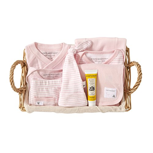 Burt's Bees Baby-Girls Organic Take Me Home Stripe Basket, Blossom, 3 Months