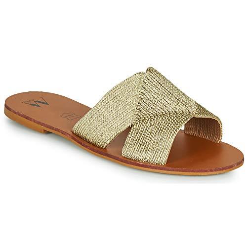 VANESSA WU STEFAN Slippers/Klompen dames Goud Leren slippers