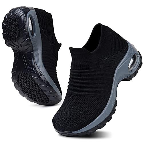 HKR Platform Sneakers Donna Leggero Casual Air Cuscino Scarpe da Ginnastica Outdoor Traspirante Gym Fitness Comode Nero EU 35