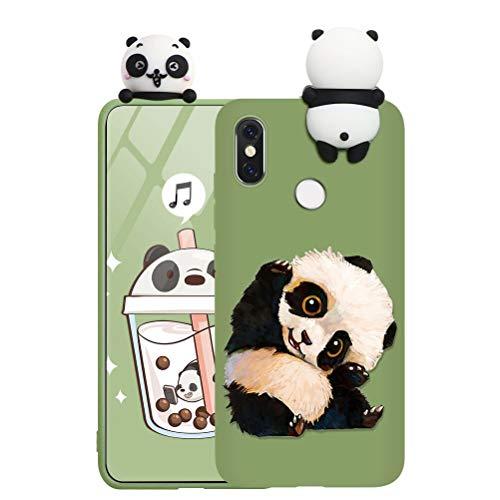 ZhuoFan Custodia Xiaomi Redmi 9A 4G con 3D Cartoon Doll, Sottile Verde Back Bumper Cover Silicone con Print Panda Pattern Shockproof Protettiva Phone Cases per Xiaomi Redmi 9A 4G, Panda 03