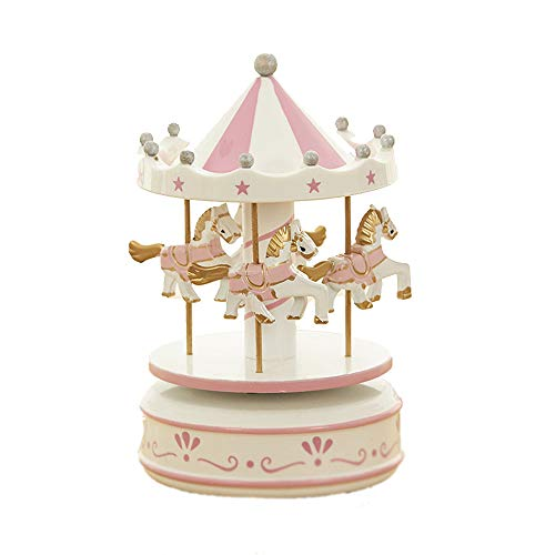 MINGZE Cajas Musicales, Caja de música de Madera Europea con 4 Caballos con carrusel, para niñas Niños Niños Bebé Navidad Cumpleaños Cumpleaños Regalo (Flower-Pink)