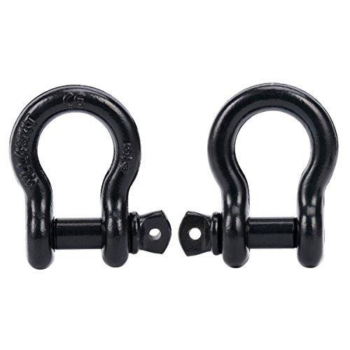 FreeTec Lot de 2 manilles droites avec vis sécurisées 4,75 T pour remorquage et remorque, acier galvanisé (noir)