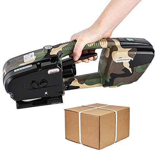 BAOSHISHAN Electric Strapping Tool for 1/2in - 5/8in PP/PET Straps Battery Powered Automatic Sealless Box Pallet Friction Heat Seamless Strapping Machine (Camouflage)