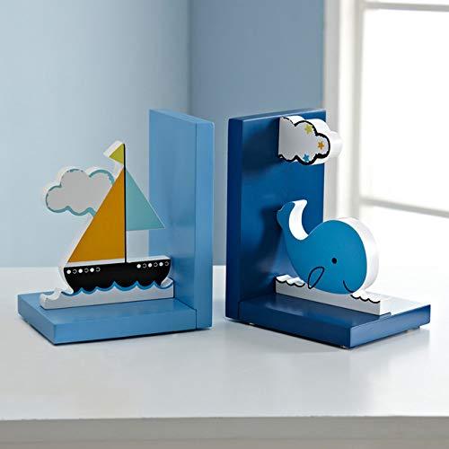 Boekenplank LKU Boot en walvis Cartoon Kids Decor Boekensteunen Desktop Boekenplankdecoratie Kinderkamer Ornamenten Ambachten, blauw