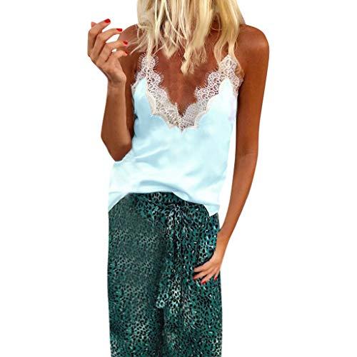 Camiseta de mujer Transwen sexy, cuello en V, encaje, patchwork, sin mangas, elegante, verano, sin mangas azul claro S