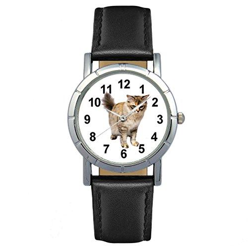 Timest - Tiffany Katze - Damenuhr mit Lederarmband schwarz Rund Analog Quarz SA2457CC