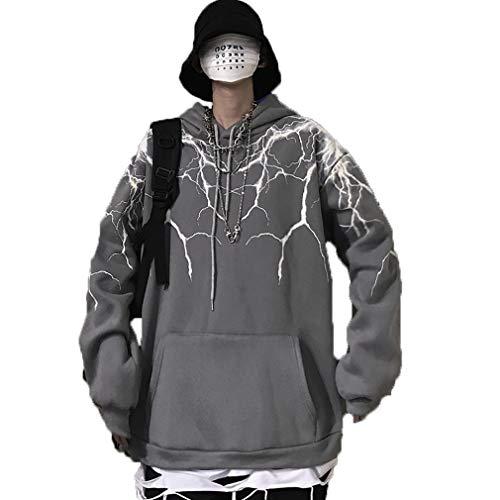 Tasty Life Herrenmode Hoodie, Hip Hop Lightning Print Hoodie Streetwear Mode Lässig Punk Rock Trendy Harajuku Top Hoodie(M,Gray)