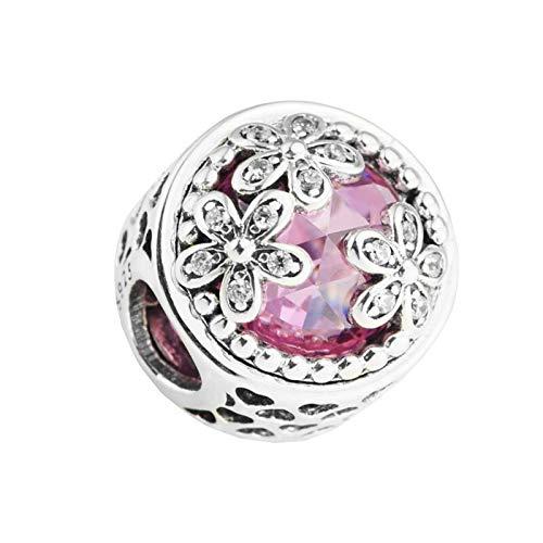 Pandora 925 plata esterlina DIY colgante joyería de lujo corazón hueco tres flores brillantes perlas cz encajan encanto pulsera joyería