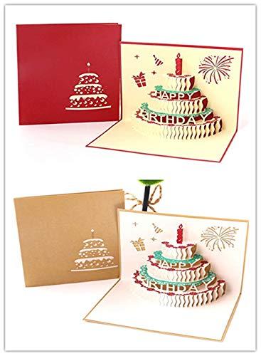 Rmeet Biglietto Di Auguri Per Compleanno,2 Pack Pop-Up Torta Di Compleanno 3D Auguri Per Compleanno Per Donna Uomo Ragazzi Ragazze Bambino 15 * 15CM Rosa+Oro