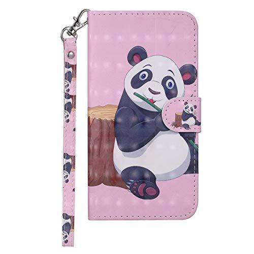 VQWQ Funda con Tapa para Huawei P8 Lite 2017 - Flip Cover con Soporte y Tarjetero Piel Funda Patrón Pintado Magnét Billetera Plegable Case para Huawei P8 Lite 2017 [Animal] -Panda