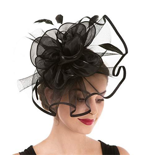 Fascinator Women's Organza Church Kentucky Derby British Bridal Tea Party Wedding Hat Summer Ruffles Cap, Hj2-black, Medium
