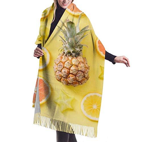 Tengyuntong Pashmina Wrap bufanda manta para mujer, bufanda pashmina vibrante, verano de piñas, frutas, mezcla extra suave grande, chal para mujer