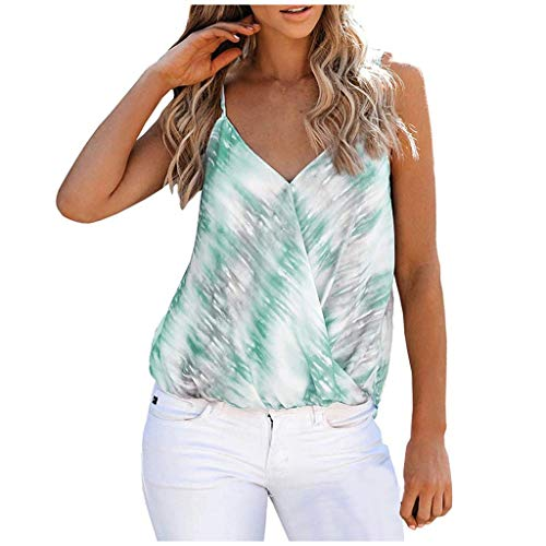 Andouy Damen Sommer Weste Tops Mode Frauen Tank Top Spaghettiträger Cami Wrap Shirt Blusentops(S.Grün)