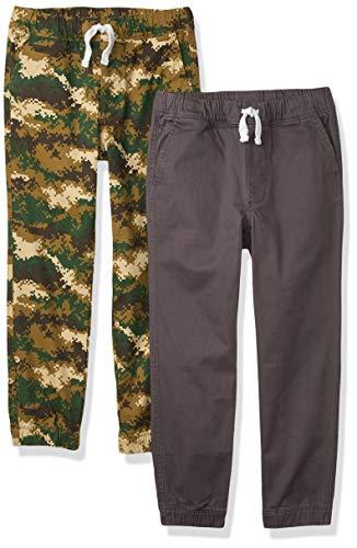 Amazon Essentials Pull-on Woven Jogger Pants, 2er-Pack Oliv-Camo/Dunkelgrau, EU 134-140 cm