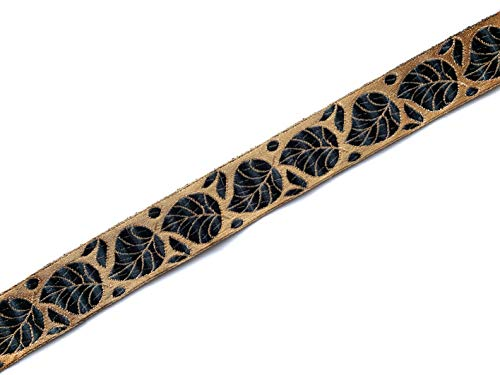 Black and Gold Indian Jacquard Border with a Leaf Pattern 3 Yards by craftbot